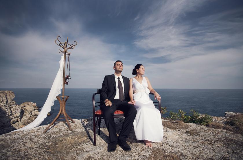 сватбена фотосесия на морето